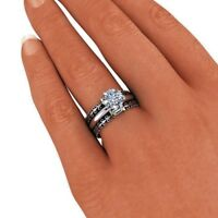 1.26Ct Diamond Wedding Engagement Ring Trio Band Set Solid 18K White Gold