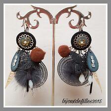 boucles d'oreilles lolilota LOL bijoux gris pompon strass perle feuille papillon