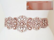 "ROSE GOLD CLEAR CRYSTAL PEARL Wedding  SASH BELT = 17"" long = LIGHT BLUSH PINK"
