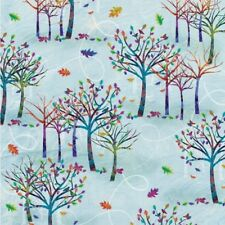 Autumn Hues cotton quilt fabric BTY Studio E Jewel tone Trees Leaves on Blue