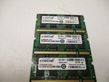 Lot of 3x2GB=6GB  Crucial 2GB CT25664AC667.C16FH  200-Pin DDR2 SODIMM 256Mx64