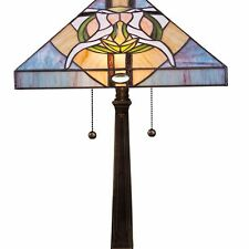 "Tiffany Style Stained Glass Blue Dove Table Lamp 2 Light 14"" Shade Handcrafted"
