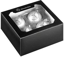 Genuine MERCEDES BENZ Christmas Tree Ball Glass Silver Star Set of 4 NEW