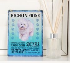 Bichon Frise Dog breed Sign Shabby Chic Retro gift vintage Hanging metal Plaque