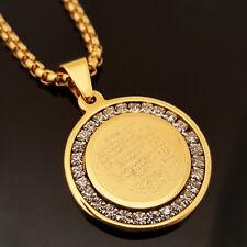 "Gold Stainless Steel Islam Koran CZ Pendant & 24"" Round Box Chain Necklace 175G"