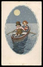 CART.D'EPOCA-illustratore C.GIRIS-BAMBINI,LUNA,NOTTE 4