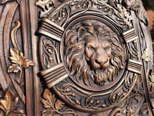 Lion Head Wooden canvas wood carvings wood wall hanging plaque