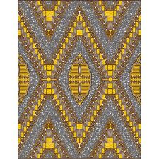 African Fabric, Yellow/Grey Diamond, Dutch Wax 100% Cotton, UK Import, 6 Yds