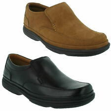 SWIFT STEP MENS CLARKS SLIP ON LEATHER NUBUCK LIGHTWEIGHT CASUAL WIDE SHOES