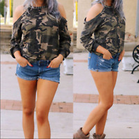 Womens Green Camouflage Long Sleeve Casual Tops Blouse Ladies Plus Size T shirt