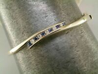 1.59 Ct Round Cut Blue Sapphire & Diamond 14K Yellow Gold Over Bangle Bracelet