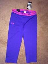 Girls Ylg Under Armour Heatgear Fitted Upf 30+ Purple / Pink Capri Pants . Nwt