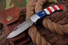 MH KNIVES RARE CUSTOM DAMASCUS STEEL FOLDING/POCKET KNIFE BACK LINER LOCK D-32