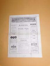 VINTAGE 1880 BOOTH'S THEATRE  PROGRAMME NEW YORK  TWELFTH NIGHT