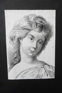 FRENCH SCHOOL 18thC - PORTRAIT YOUNG WOMAN - CHARCOAL DRAWING