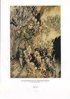 'The Gnomes.'... A.Rackham's VINTAGE FAIRY TALE. D/Sided PRINT. Plts 5&6
