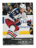 2015-16 UPPER DECK #217 JOSH ANDERSON YG RC UD YOUNG GUNS ROOKIE BLUE JACKETS