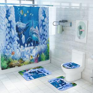 Dolphin Shower Curtain Bathroom Rug Set Bath Mat Non-Slip Toilet Lid Cover