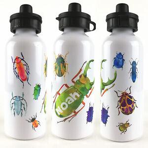 Personalised Kids Water Bottle, Boys Meta lSchool Water Bottle, Beetles and Bugs