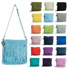 Big Handbag Shop Womens Small Suede Leather Tassle Fringe Shoulder Bag