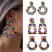 Hyperbole Crystal Earrings Colorful Geometric Stud Drop Dangle Charm Women Gift