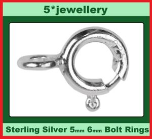 real 925 sterling silver chain or bracelet round bolt ring catch clasp 5 & 6mm