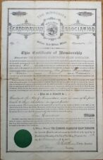 Red Wing, Minnesota MN Large 1892 Certificate: 'Scandinavian Relief Association'
