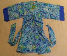 Lily Pulitzer Womens Kimora Kimono Silk Dress KB8 Sparkling Blue Oh Shucks Small