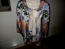 Chico's Top-Lightweight Jacket-Tan Blue Orange 1 Hook-Size 1-NWOT #N3