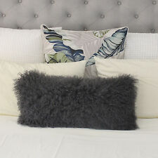 GREY MONGOLIAN FUR SHEEPSKIN RECTANGLE LUMBAR CUSHION 30x60cm TIBETAN CURLY HAIR