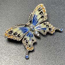 "Monet High End Vintage Brooch Pin 1.2"" Enameled Butterfly Amber Rhinestones Lot3"