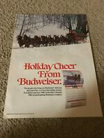 """Vintage 1980s BUDWEISER BUD BEER Poster Print Ad CLYDESDALES """"HOLIDAY CHEER"""""""
