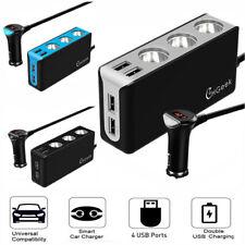 12V 3 way Car Cigarette Lighter Socket Splitter 4 USB Car Charger Power Adapter