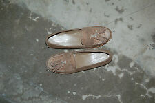 WOMAN - 38 - PENNY LOAFER - SUEDE + GENUINE OSTRICH BEIGE - LEATHER SOLE