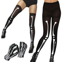 Ladies Skeleton Bone Print Halloween Gloves Costume Accessory Womens Fancy Dress
