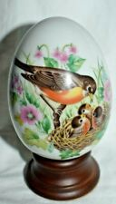 """Estate Avon """"Every Spring Brings a New Beginning"""" Egg with Robin & babies=Stand"""