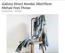 Gallery kendal supersoft mohair feel throw in grey/ blue check brand new RRP£80