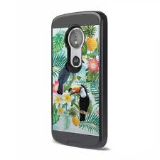 Hybrid Shock Defender Black Case Cover Motorola Moto E5 XT1920 Tropical Birds