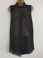 NEW Plus Size 16-32 Polka Dot Spotted Black & White Chiffon Blouse Shirt Top