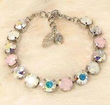 PINK OPAL BRACELET, Cup Chain Bracelet made w/ WHITE OPAL Swarovski Crystals