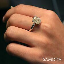4.0 CT Cushion Light Yellow Moissanite Ring, 14kt White Gold Engagement ring