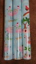 3 Rolls PINK FLAMINGO TROPICAL Christmas Holiday Wrapping Paper Gift Wrap