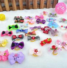 20pcs Lot Assorted Pet Cat Dog Hair Bows with Rubber Bands Grooming Accessories