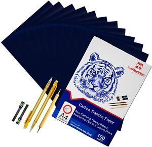 Carbon Copy Paper includes 100 Carbon Paper Blue, 5 Tracing Papers, 2 Pencils