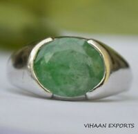 925 Sterling Silver Natural Colombian Emerald Oval Shape Cut Mold Men Ring Sale