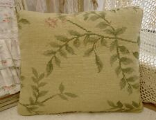"15"" Shabby Chic Artistic Tree Branch Green Leaves VTG Decor Needlepoint Pillow"
