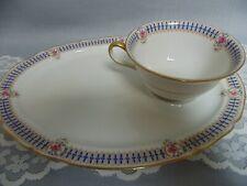 Limoges France Ahrenfeldt Snack Toast Dessert Set Cup Plate Rose Medallions