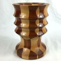 Wood chunky candle holder joined turned mid century modern harlequin handmade I