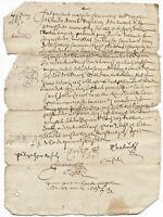 1663 LOUIS XIV royal notary autograph manuscript 2p nice signatures DAMAGED