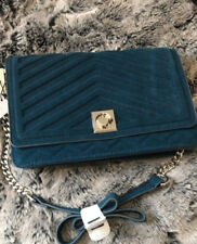 ZARA PETROL BLUE LEATHER SPLIT SUEDE MAXI CROSSBODY CITY BAG with chain strap
